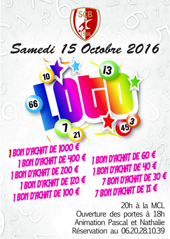 Grand Loto, ce samedi 15 octobre à partir de 20h00 à Beaucouzé