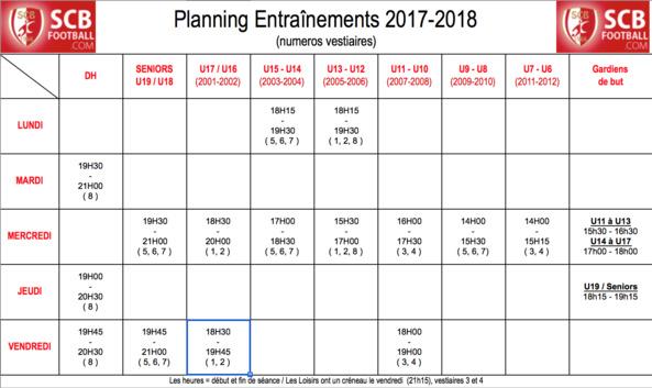 Planning entrainement 2017-2018