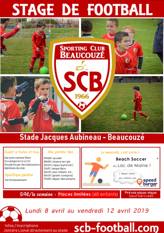 STAGE DE FOOTBALL : vacances d'Avril 2019