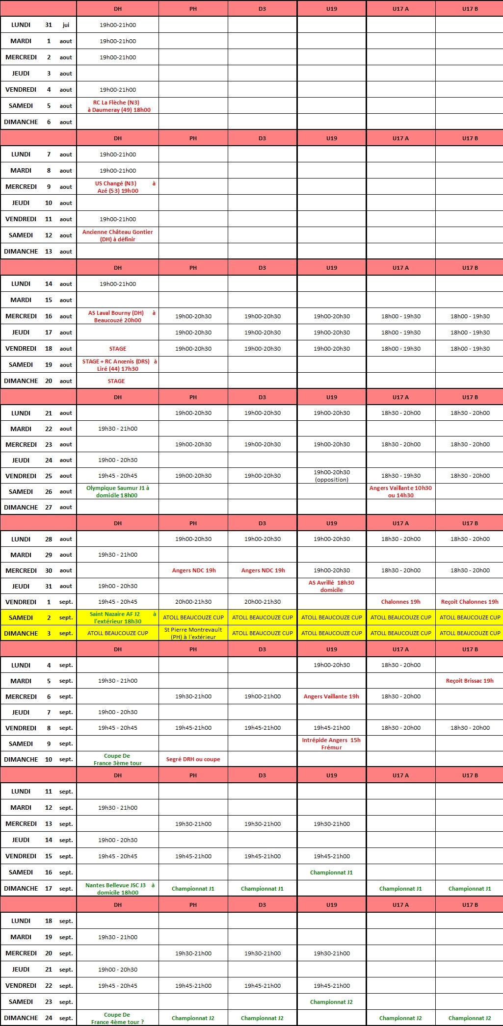 Planning de reprise entraînements - Séniors/U19/U17