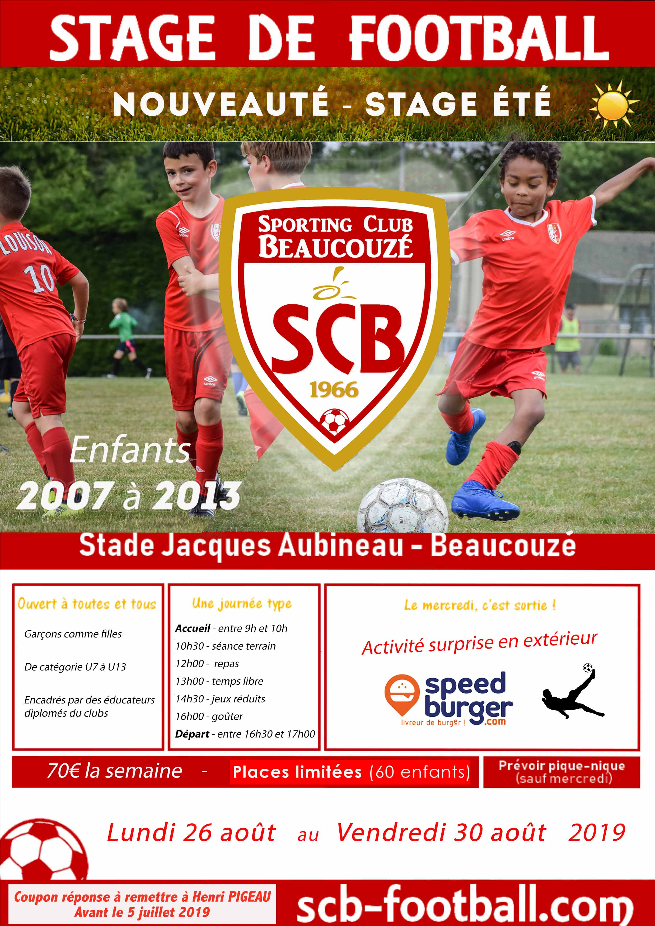 Stage football cet été au SCB