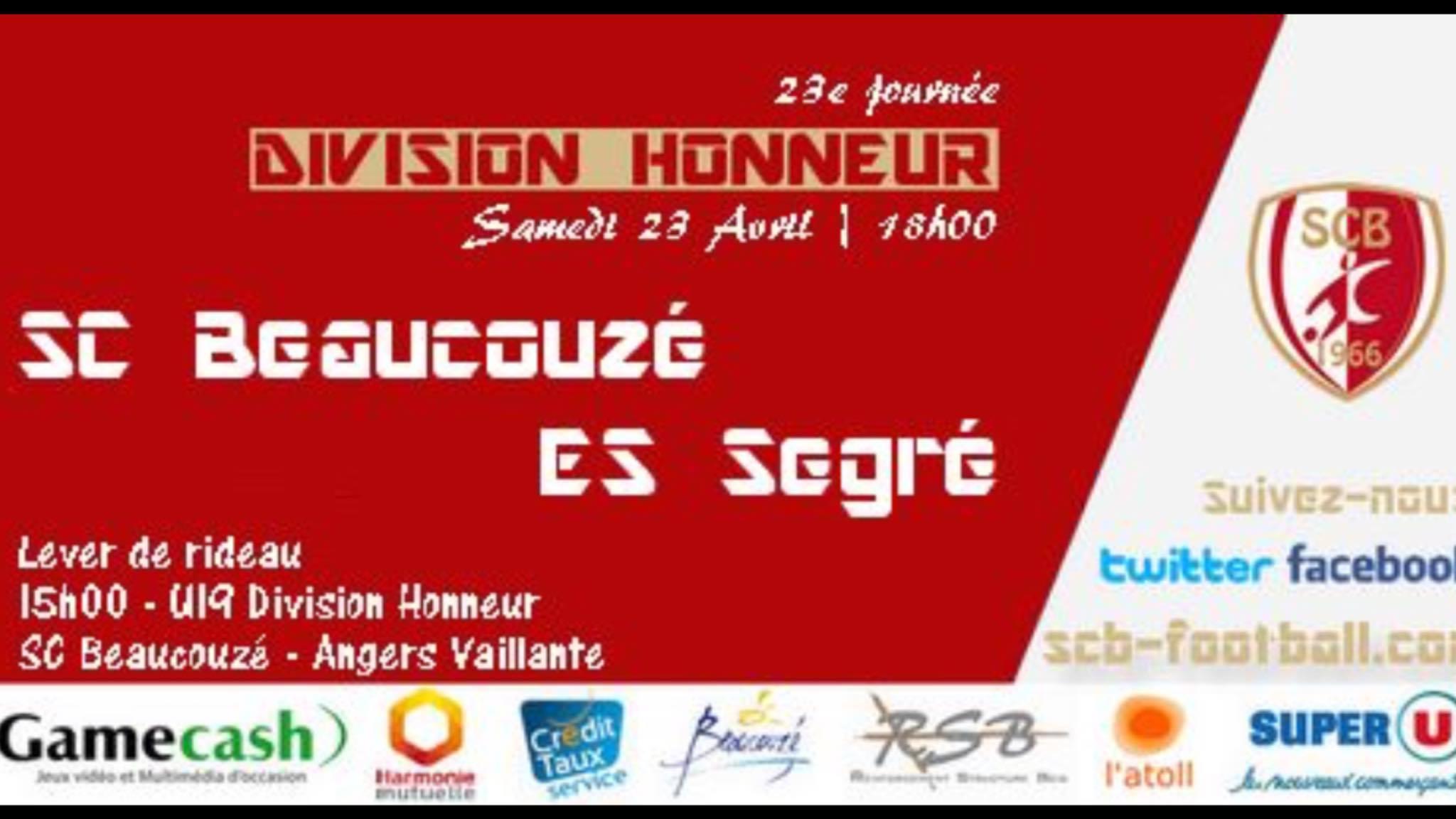 Affiche de la rencontre SC Beaucouzé/ES Segré