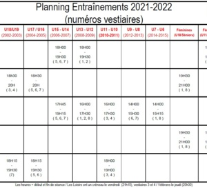 Planning entraînements 2019-2020