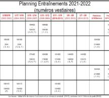 Planning entraînements 2018-2019
